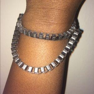 Silver & Gold Double Chain Bracelet